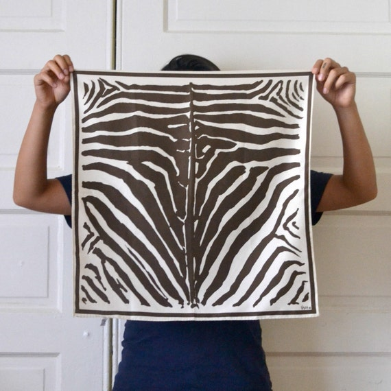 Vintage Scarf - Vera Neumann Brown Zebra Print