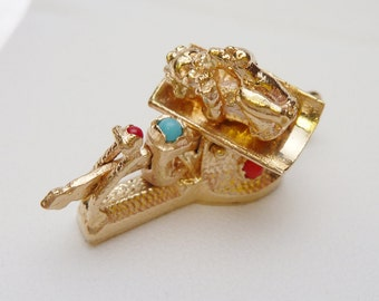 14kt Baby on Scale 3D Charm with Stones 1950s