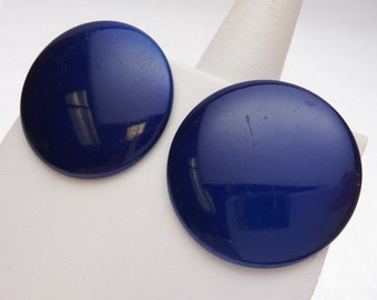 Enameled Metal Royal Blue Button Studs