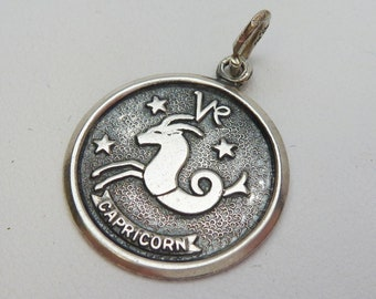 Antiqued Capricorn Zodiac Charm Sterling