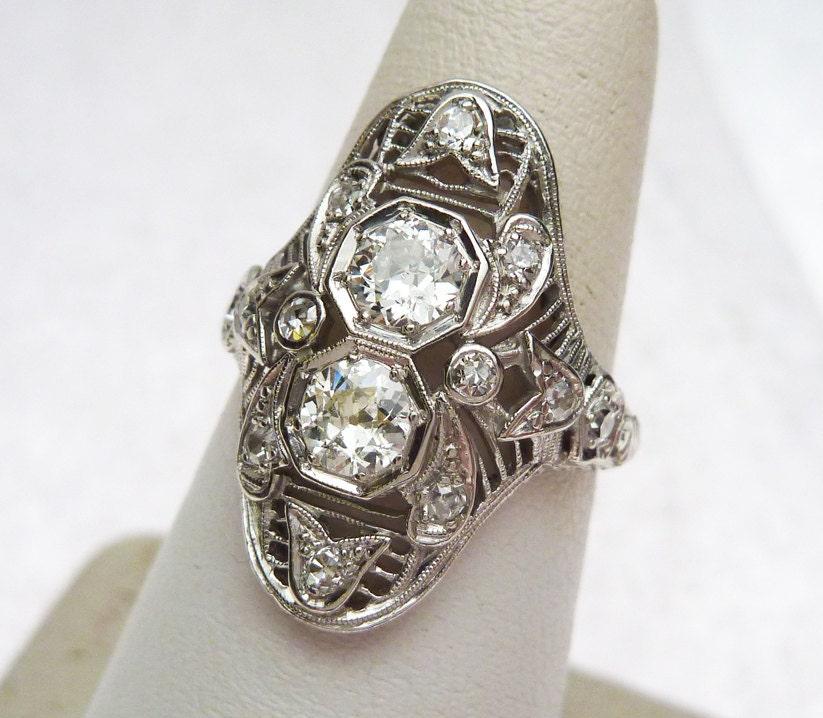 platinum deco antique 90ctw dinner ring