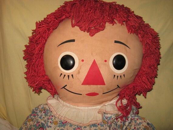 """Big Beautiful Vintage Raggedy Ann Doll 40"""" high"""