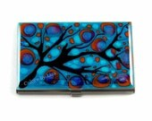 Business Card Case Hand Painted  Metal Wallet Turquoise and Red Glossy Enamel Finish Customizable Card Holder