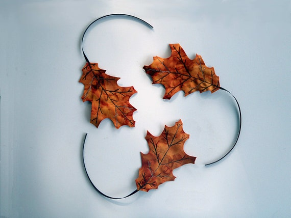 Three Fall Fabric Oak Leaves Bookmarks Decor