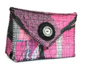 Upcycled Clutch or Crossbody Bag, Envelope Style in Pinks, Black and Silver One of a Kind