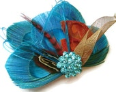 Turquoise and Rust Peacock Feather FALL BRIDE Bridal Hair Fascinator Clip Skeleton Leaf with Large Turquoise Rhinestone Jewel