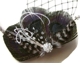 MIDNIGHT AFFAIR Black Peacock Feather Hair Fascinator Clip with Black French Netting