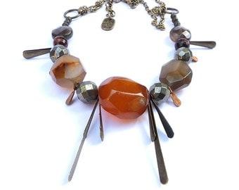 bohemian statement fringe necklace agate, pyrite, smokey quartz, red tiger eye, vintage brass drops, unique ooak