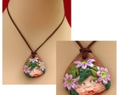 Flower Pixie Pendant Necklace Jewelry Handmade NEW Polymer Clay Gift DMA Art