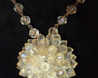 Vintage Necklace West Germany Pale Yellow Crystal Bead Stamped Retro Costume Jewelry