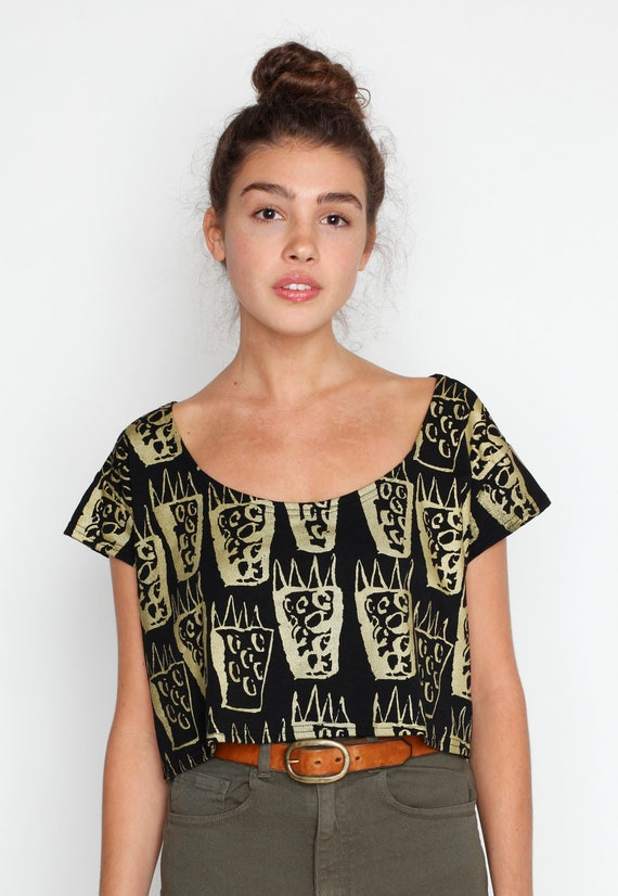 Tiger Claw Crop Top in Gold on Black