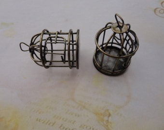 2pcs 40mm(height)x30mm(diameter) 3D Bird Cage  Antique Bronze  Retro Pendant Charm For Jewelry Pendant