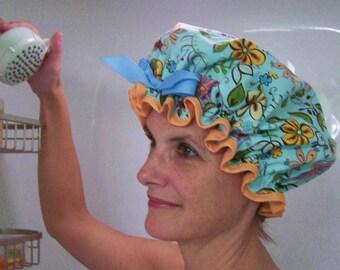 "Shower Cap Womens Girls Waterproof Washable ""Pretty Flowers"""