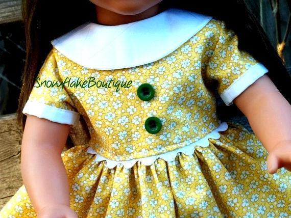 American Girl Doll Clothes 18 inch Doll Dress Yellow  Dress with White Collar