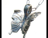 Striped Butterfly Sterling Silver Wearable Art Pendant Necklace  ON SALE