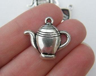 8 Teapot charms tibetan silver FD50