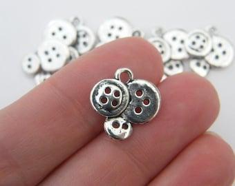 BULK 50 Buttons charms antique silver tone SN33
