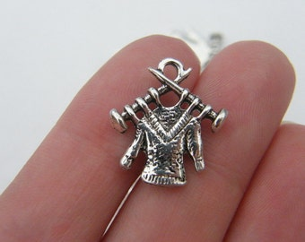 10 Knitting charms antique silver tone SN24