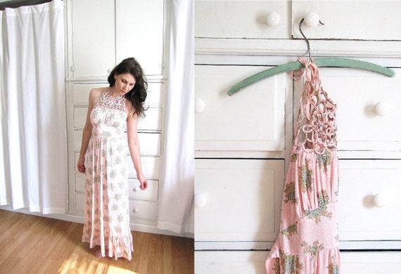 Vintage 1960's Soft Pink and Floral Print Macrame Halter Maxi Dress
