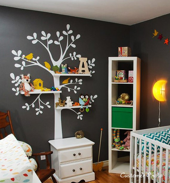 The ORIGINAL Shelving  Tree with Birds - LARGE  Kids Vinyl Wall Sticker Decal Art