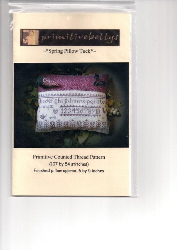 Primitive Folk Art Cross Stitch Pattern - Spring Pillow Tuck - Primitive Betty - DESTASH