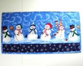 "Quilted table runner -Christmas, winter,  snowmen,  holiday,  15""x29"""
