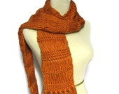 Sale Hand Knit Scarf, Orange Scarf, Pumpkin Scarf, Knit Scarf, Winter Scarf, Wool Scarf, Drop Stitch Scarf, Fiber Art, Womens Scarf,