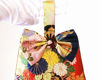 Wedding Purse with vintage KIMONO gold brocade embroidery fall color opal hand bag