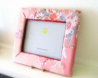 Pink photo frame with wedding KIMONO fabric spring flower motif brocade ready to ship