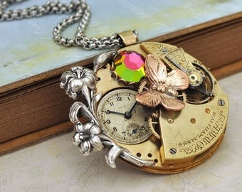 LOVE TAKES TIME steampunk antique brass Waltham year 1892 pocket watch movement necklace with Iris and Swarovski glass cab