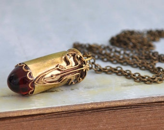 RUBY TIP BULLET real bullet casing necklace with vintage bullet tip ruby red glass cab