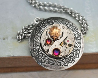 TIME BUGGY antique silver steampunk watch movement necklace with tiny  brass beetle