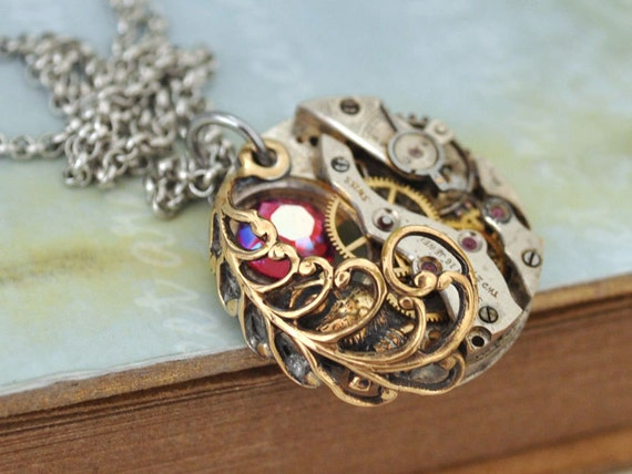 TIMELESS LOVE steampunk baby owl necklace with vintage watch movement