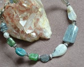 Sea Goddess - Blue, Green Kyanite, Labradorite and Moonstone Gemstone Bracelet