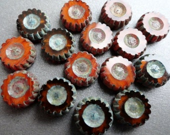 Table Cut Picasso Rust Daisy Beads - Pemium Czech Glass Beads