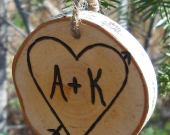 Birch Branch Personalized Ornament for Wedding Gift or Valentine Gift