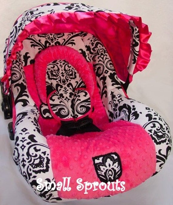 Custom Boutique Black and White Large Damask Hot Pink Infant Car Seat Cover 5 piece set