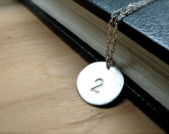 Number 2 necklace hand stamped silver disc necklace - Number two silver personalized lucky number silver charm - Unique gift idea