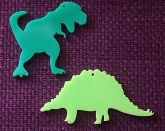 2 x Laser cut acrylic dinosaur pendants - any colour