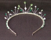 Swarovski crystal tiara in emerald green, peridot and clear crystals for bride, bridesmaid, prom
