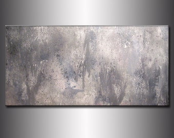 GRAY ABSTRACT Textured Abstract Painting,Original Gray Abstract painting,Contemporary Modern Fine Canvas Art, by Henry Parsinia 48x24
