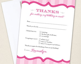 Pretty in Pink Thank You Cards - Professionally printed *or* DIY printable