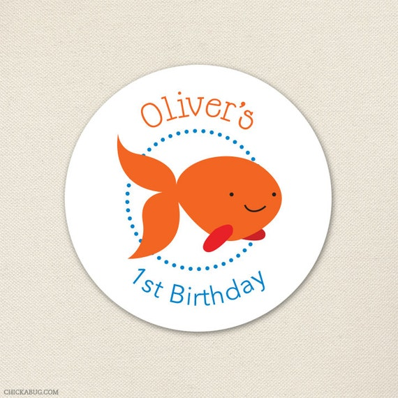 Goldfish Party - Custom Stickers - Sheet of 12 or 24