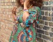 Afro-butterfly dress Green