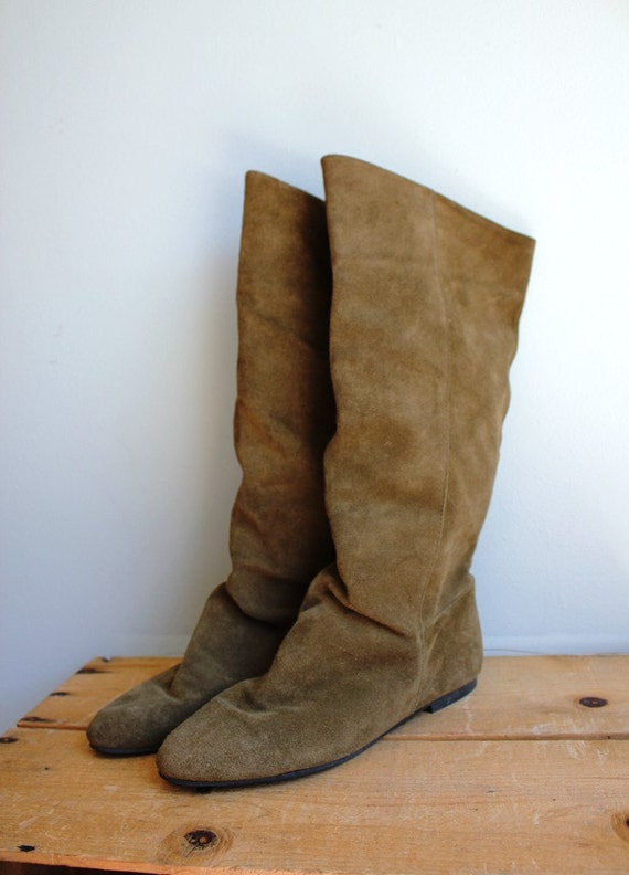 Vintage Olive Green Tall Slouch Boots
