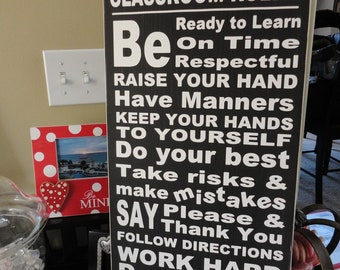 Custom Typography Sign for Teachers.  Classroom Rules with Teachers Name, Typography Word Art, Family Rules, Favorite Phrases or Quotes.