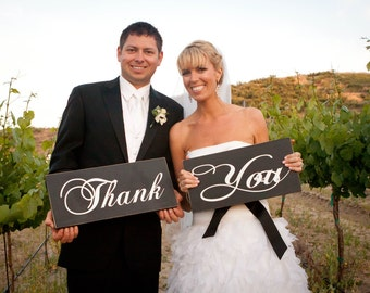 Thank You Signs for your Thank You Cards, Wedding Signs, Photo Props.  Custom, Handmade Signs, Crisp Paint, 8 X 16 inches, 2 signs, 1-sided.