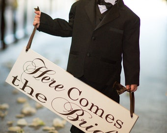 Here Comes the Bride with And they lived Happily Ever After.  8 X 24 inches, 2-Sided, Bridal Sign, Marriage Sign,  Ring Bearer, Flower Girl.