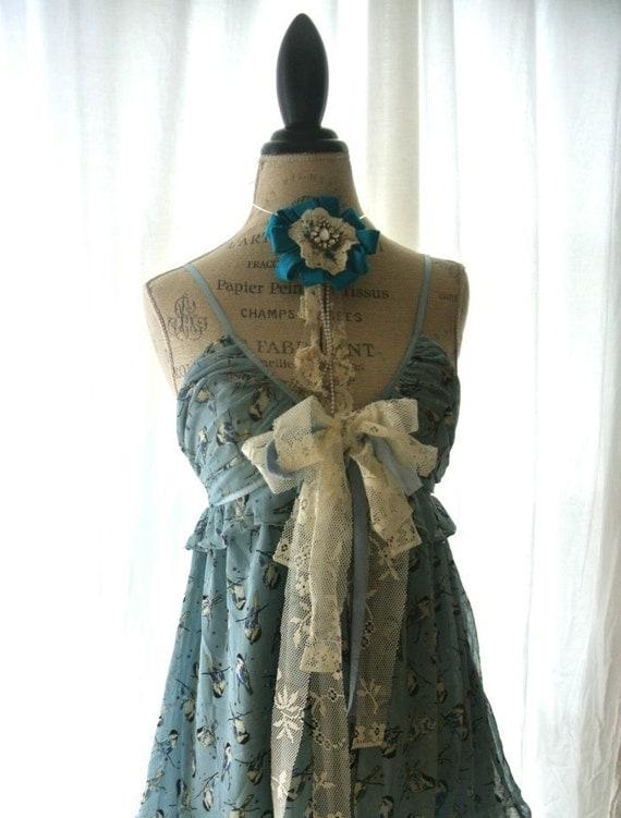 French blue slip dress, romantic shabby sundress, womens clothing, rustic cottage dress, bow, lace, upcycled, tattered