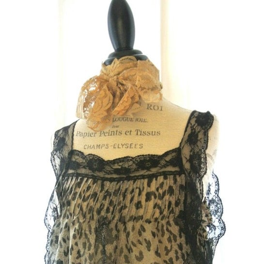 Animal print top, gypsy apron shirt, country cowgirl glam tunic top, ruffle cottage chic, womens clothing, shabby clothing